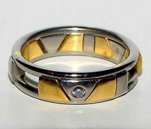 Designer-CHRISTIAN-BAUER-18K-Yellow-White-Gold-Diamond-Moveable-Ring-Band-Size-7