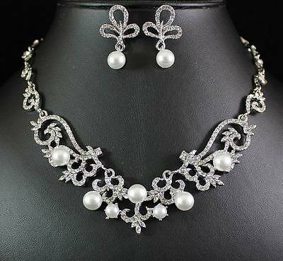 PEARL N CLEAR AUSTRIAN RHINESTONE CRYSTAL NECKLACE EARRINGS SET BRIDAL WED N1423