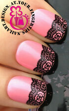NAIL ART WATER TRANSFERS DECALS STICKERS DECORATION BLACK FLOWER LACE MESH #80
