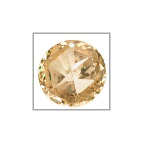 Cuboc Zirconia Star Round Pendant Bead 18mm Light Champagne #64411
