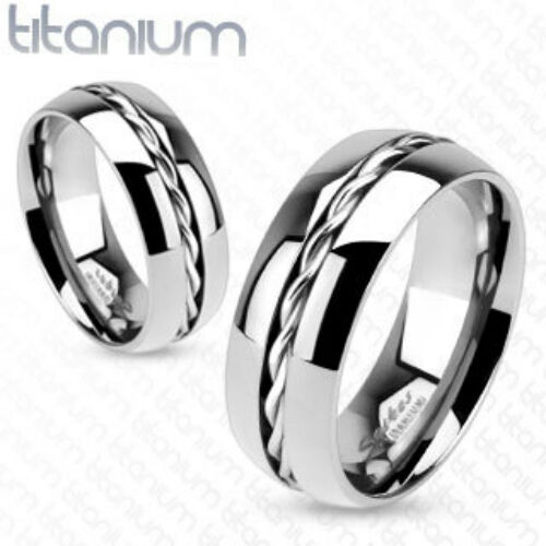 Solid Titanium Line Rope Twist Inlay Center Band Ring