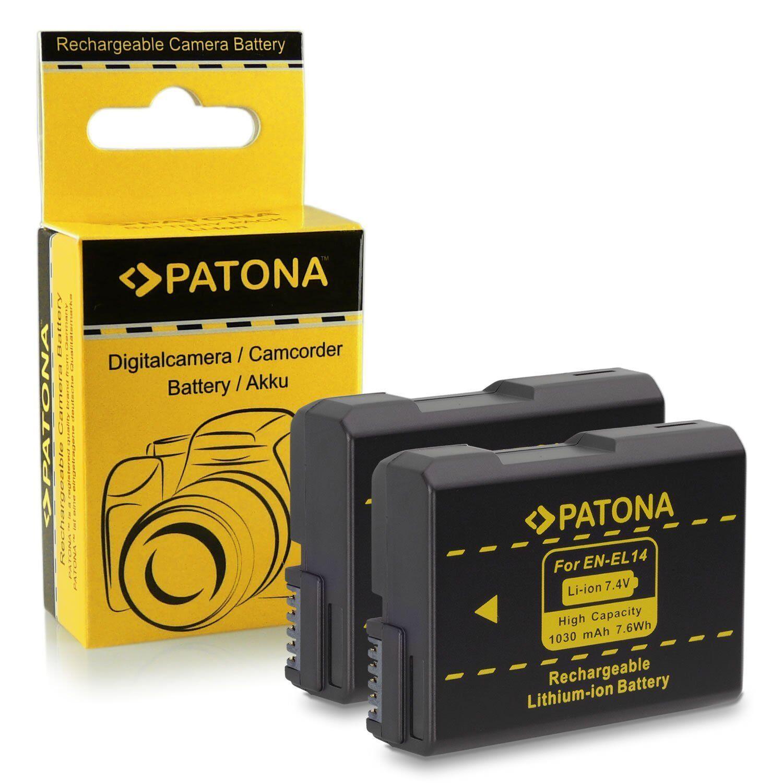 X2 batterie enel14 für nikon professional reflex DF patona 1030 mah