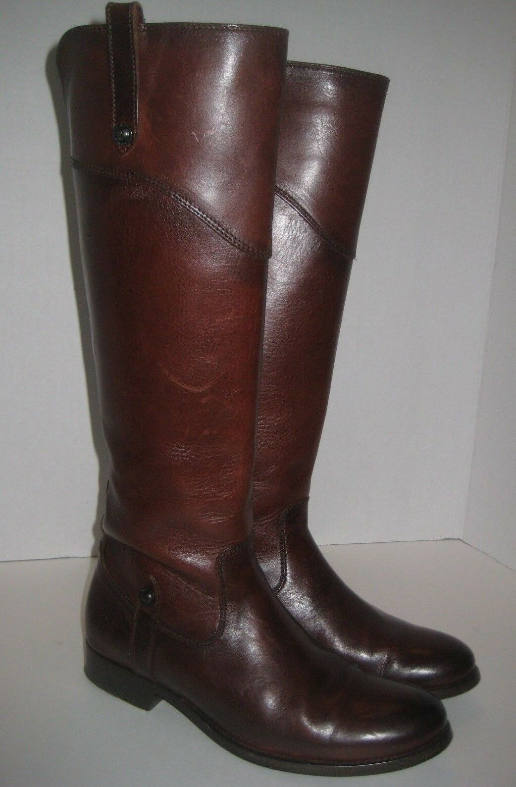 FRYE MELISSA TAB TALL LEATHER BOOTS KNEE HIGH REDWOOD SIZE 7