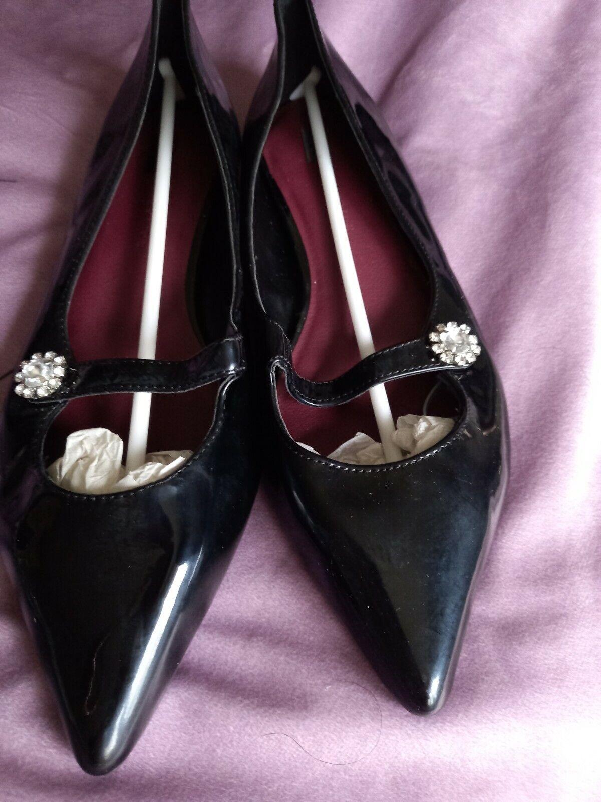 Marks And Spencer Black Slip On Shoes Uk 7 NEW