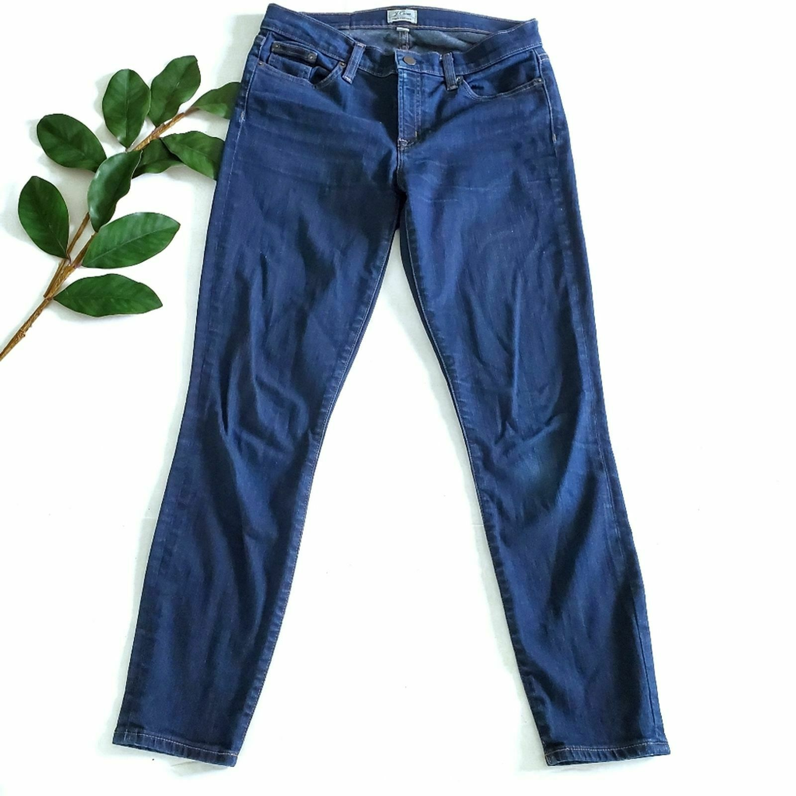 "J Crew Women 28"" Toothpick Skinny Ankle Jeans B0755 Dark Wash Size 28"