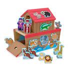 Wooden Noah's Ark Shape Sorter Toy Melissa & Doug 28 Character Blocks Doors 2by2