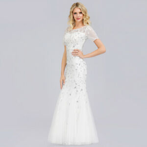 UK Ever-Pretty Evening Wedding Dress Mesh Applique Mermaid Gowns White 07707
