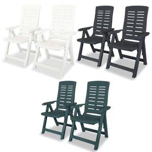 Details about vidaXL 246x Reclining Garden Chairs 60x61x108cm Plastic Seats Multi Colours