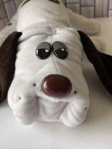 "Tonka Pound Puppies White Brown Spots Plush Stuffed Dog 18"" Puppy 1985 Vintage"