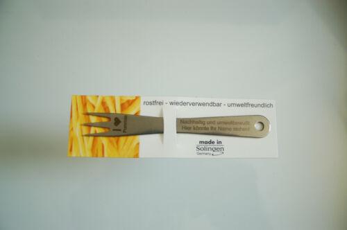 Pommesgabel aus Edelstahl made in Solingen mit Wunschgravur 2 Stk