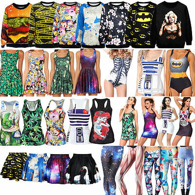 Various Womens Summer Digital Print Monokini /Skater Dress / Tank Top / Leggings