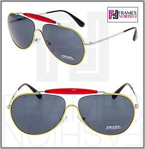 c665e250dda2 Image is loading PRADA-56S-Linea-Rossa-Aviator-Sunglasses-Red-Yellow-