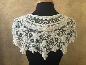 Fashion white sewing clothing flower embroidered neckline crochet