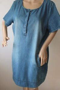 FAT FACE LADIES CASUAL BLUE DENIM CHAMBRAY TUNIC DRESS WITH POCKETS SIZE 16 VGC