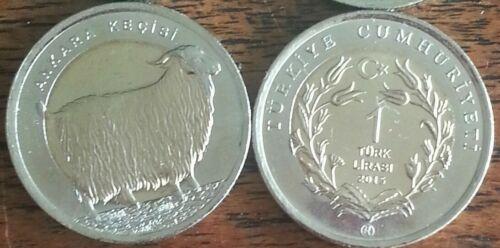Turkey 1 Lira Goat Animal 2015 Bimetal UNC