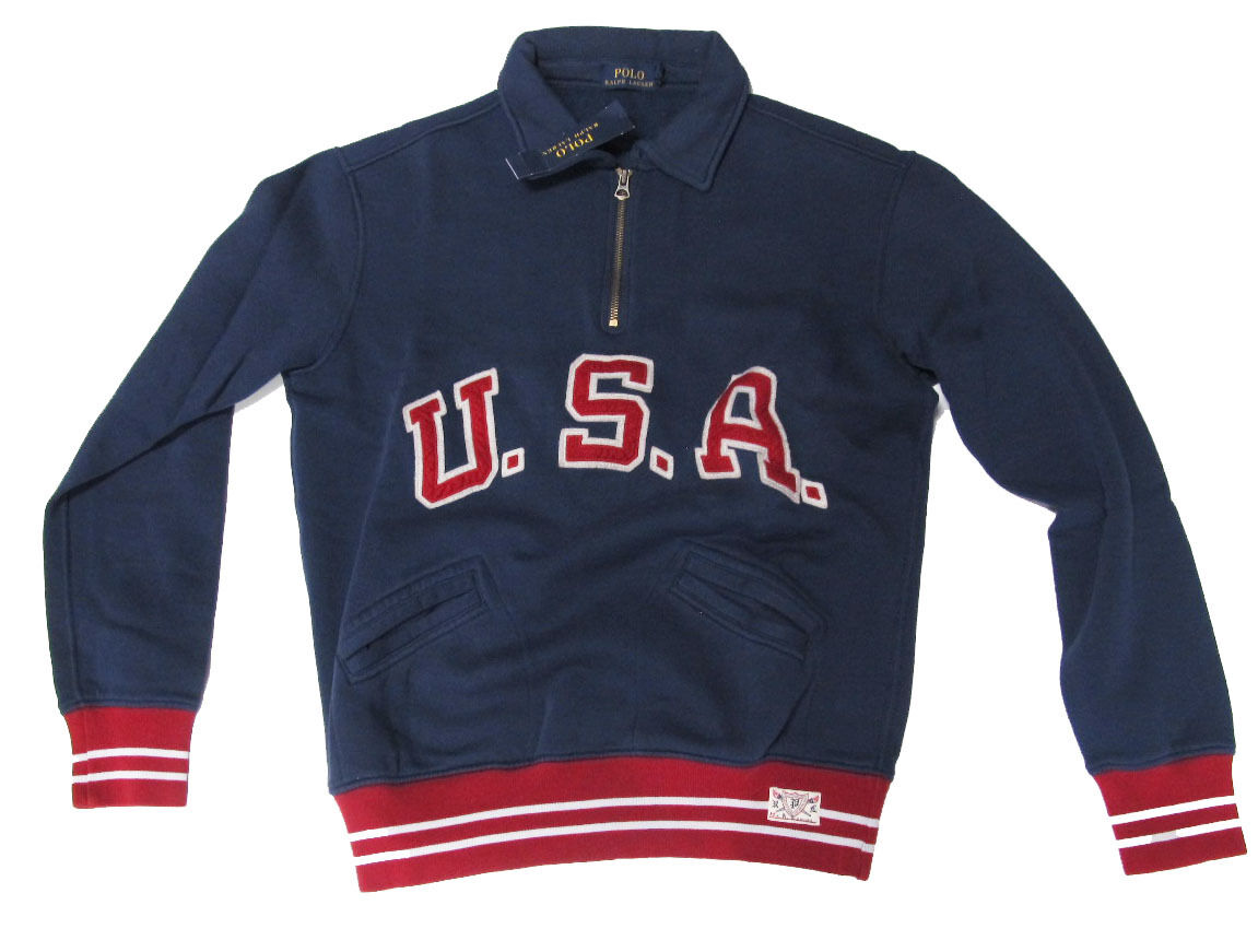 Polo Ralph Lauren Mens Half Zip Vintage bluee USA Patch Logo Sweater New Size L