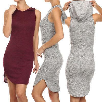 Women Sexy Solid Knit Stretch Hooded Sleeveless Bodycon Party Slim Mini Dress