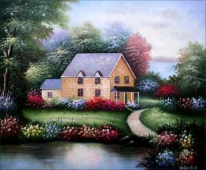 Quality-Hand-Painted-Oil-Painting-Lakeside-Cottage-20x24in