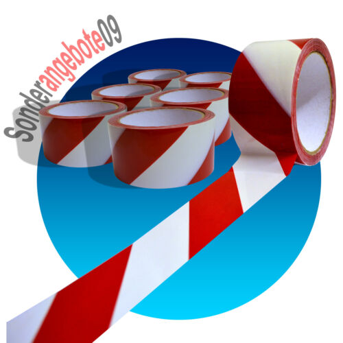108 x KLEBEBAND Markierungsband 66 m x 50 mm Signalband Warnklebeband rot weiß