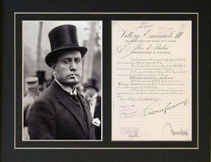 Repro letter signed by Benito Mussolini WWII World War 2 ...