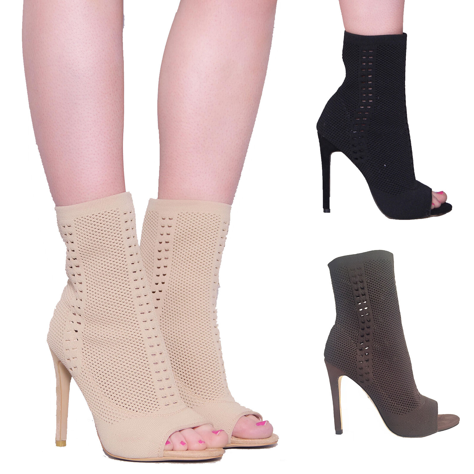 Womens Ladies Stiletto High Heel Fashion Ankle Boots Knit Stretch  Peep Toe Size