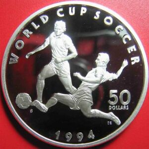 1994-MARSHALL-ISLANDS-50-PROOF-1oz-SILVER-WORLD-CUP-SOCCER-PLAYER-SPORT-COIN