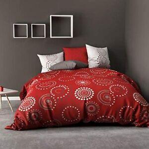 Housse de Couette 260X240 cm + 2 Taie d'Oreiller 100% coton Hermine Rouge