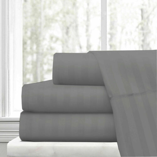 Extra Deep 40cm Stripe Fitted Sheet 600TC 100/%Egyptian Cotton Double White Grey