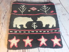 "Laura Megroz Latchhook Pillow Cover Chandler 4 Corners Bears Black White 17"""