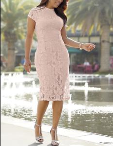 Ashro-Lynnelle-Dress-Pink-Lace-Formal-Dinner-Party-Church-M-L-XL-1X-2X-3X-PLUS