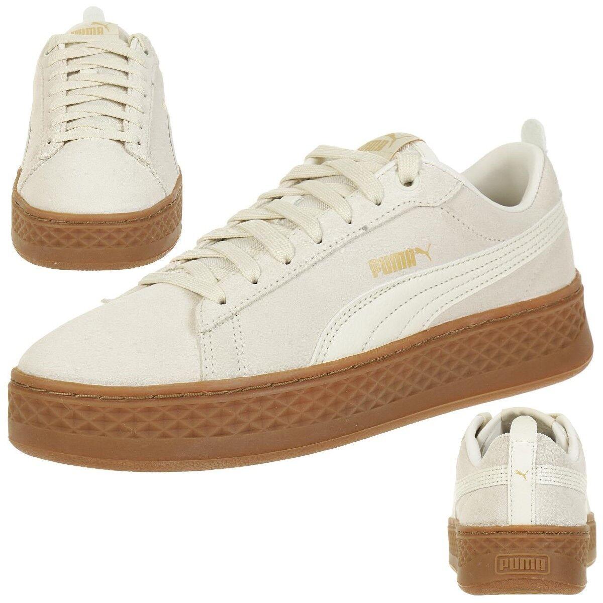 Zapatos promocionales para hombres y mujeres Puma Smash Plataforma L Deportivas De Cuero Zapatos Mujer 366487 02 blanco
