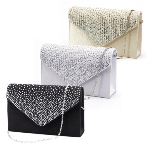 Large Ladies Evening Satin Bridal Diamante Clutch Bag Prom Envelope Handbag