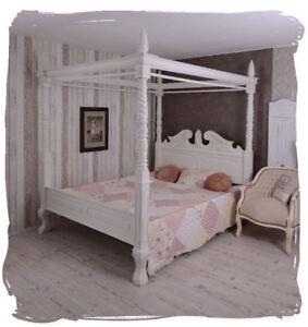 Details zu Himmelbett Ehebett shabby chic weiss Doppelbett Mahagoni  Gründerzeit Bett Holz