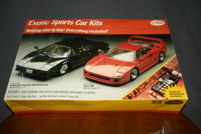 Testors Sports Car Kits Lamborghini Countach Ferrari F40 Check