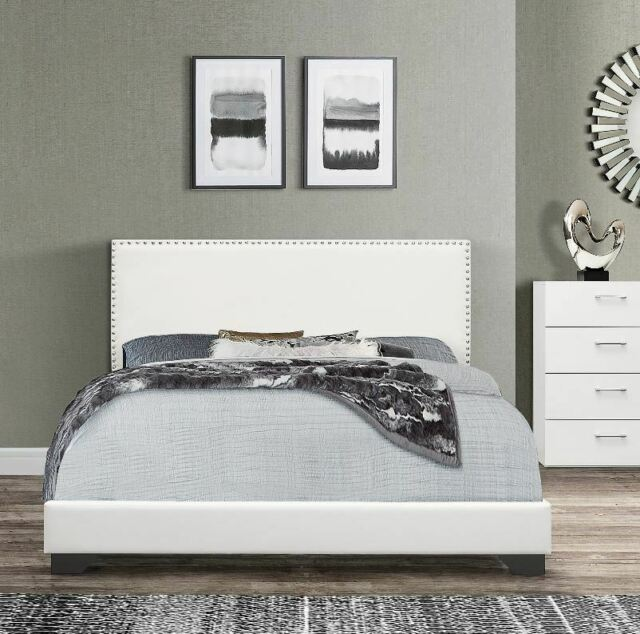 Upholstered Queen Bed Faux Leather, Upholstered Queen Bed White