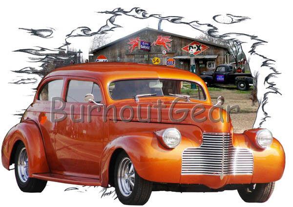 1940 Orange Chevy Sedan Custom Hot Rod Garage T-Shirt 40 Muscle Car Tees