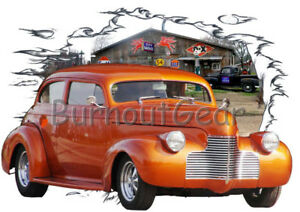 1940 Red Chevy Coupe a Custom Hot Rod USA T-Shirt 40 Muscle Car Tees