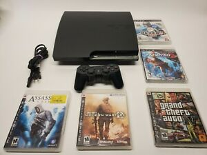 Sony Playstation 3 Slim Game Console 120GB CECH-2001A PS3 +5 Games Factory Reset
