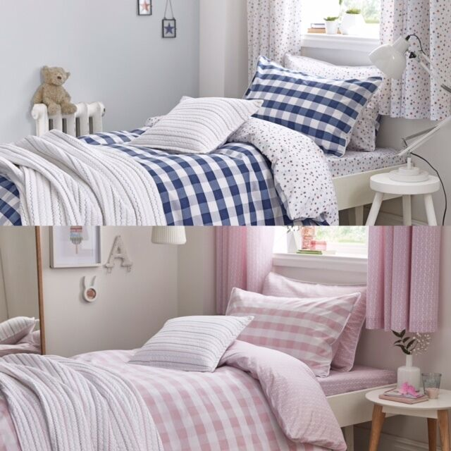 c41e8a0d72a07 Childrens Blue or Pink Gingham Duvet Cover Set, Fitted Sheets, Cushion or  Throw