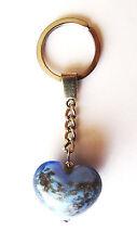 exklusiver Schlüsselanhänger Glas Herz / Unikat / Geschenkset / blau gold
