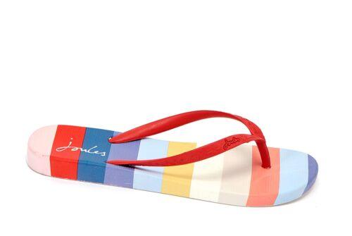 Joules NEW women/'s flip flops white multi stripe print red flip flops sizes 3-8
