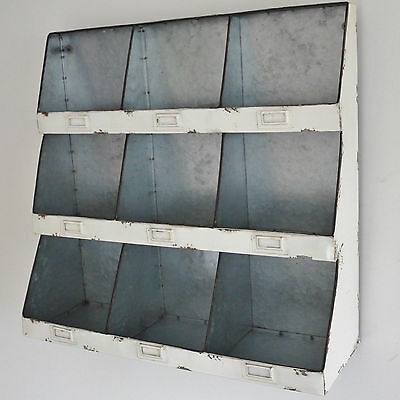 White Metal Industrial Wall Shelf Unit Vintage Style Pigeon Hole Storage Cabinet