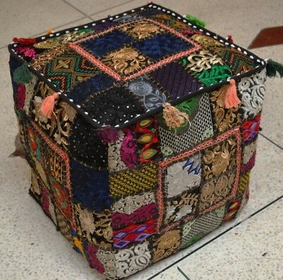 New Indian Handmade Patchwork Square Pouf Cover Home Decor Blue Color 16x16