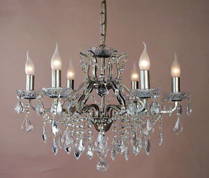 Details About 6 Branch French Shallow Pale Gold Silver Gl Ornate Lighting Chandelier Ch118