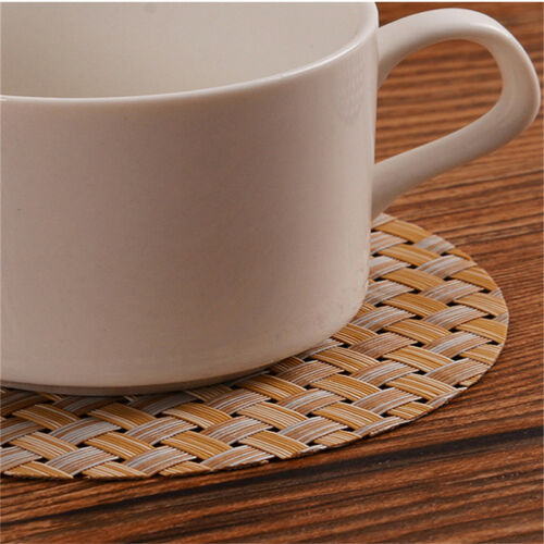 6 Colors Dining Table Mat Round Coasters Western Restaurant PVC Woven Coaster