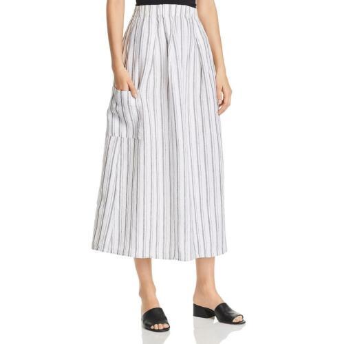 Eileen Fisher Womens White Linen Striped Cargo Midi Skirt XS BHFO 9973