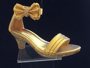8039304b319 Details about little girls high heel shoes kids high heels childrens high  heels gold (9-4)