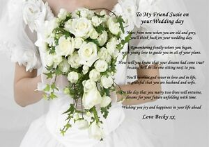 ... PERSONALISED A4 POEM TO MY FRIEND ON HER WEDDING DAY GIFT FOR FRAMING