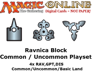 MTGO Magic Online Ravnica Block 4xCommon//Uncommon//Land Playset RAV GPT DIS