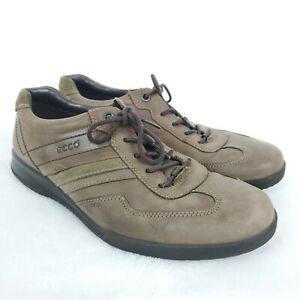 Ecco-Mens-EU-44-Brown-Nubuck-Leather-Lace-Up-Athletic-Tennis-Shoes